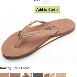 new! Rainbow dark brown braided strap flip flop
